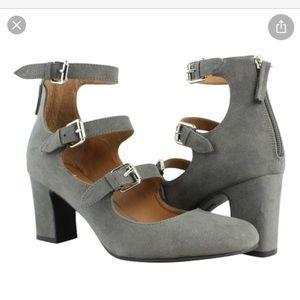 Indigo charcoal grey suede buckle heels. Size8